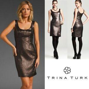 NWT Trina Turk Sheath Dress Metallic 0 Garreth